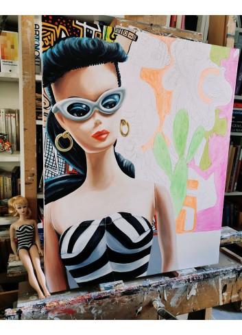 En attendant l'été peinture à l'huile de Caroline Maurel