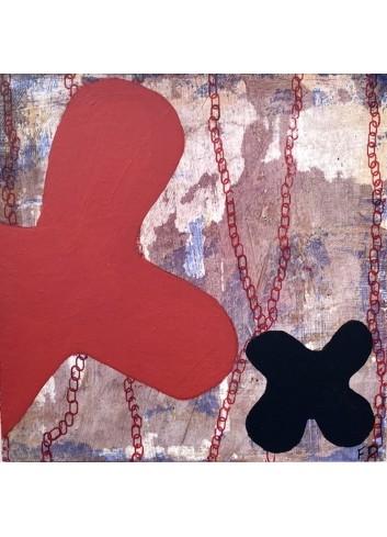 Forme rouge et noire N°7 Tableau de Françoise Danel