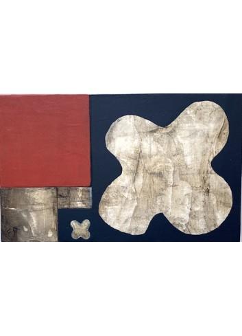 Duo de trèfles N-12 petit tableau en bois de Françoise Danel