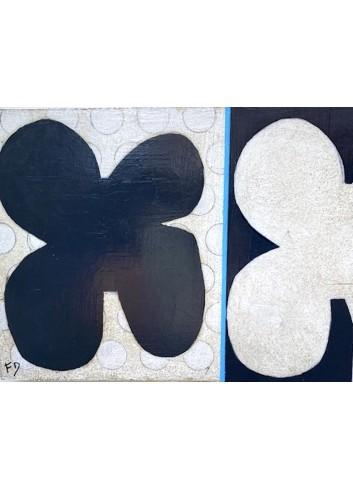Duo de formes N-15 petit tableau de Françoise Danel